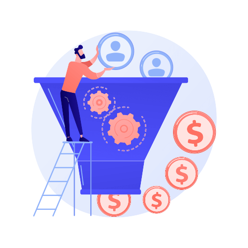 Visitor to Subscriber to Customer funnel